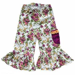 CHEEKY PLUM Floral Print Denim Ruffle Crop Pants